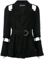 Balmain cutout belted jacket - women - Lamb Skin/Viscose/Cotton - 38