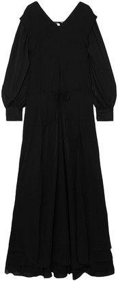 Chloé Satin-jersey And Draped Chiffon Maxi Dress