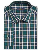 Club Room Men's Estate Classic/Regular Fit Green Blue Tartan Dress Shirt, Only at Macy's