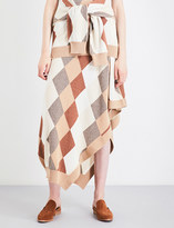 Pringle Asymmetric-hem argyle cashmere skirt