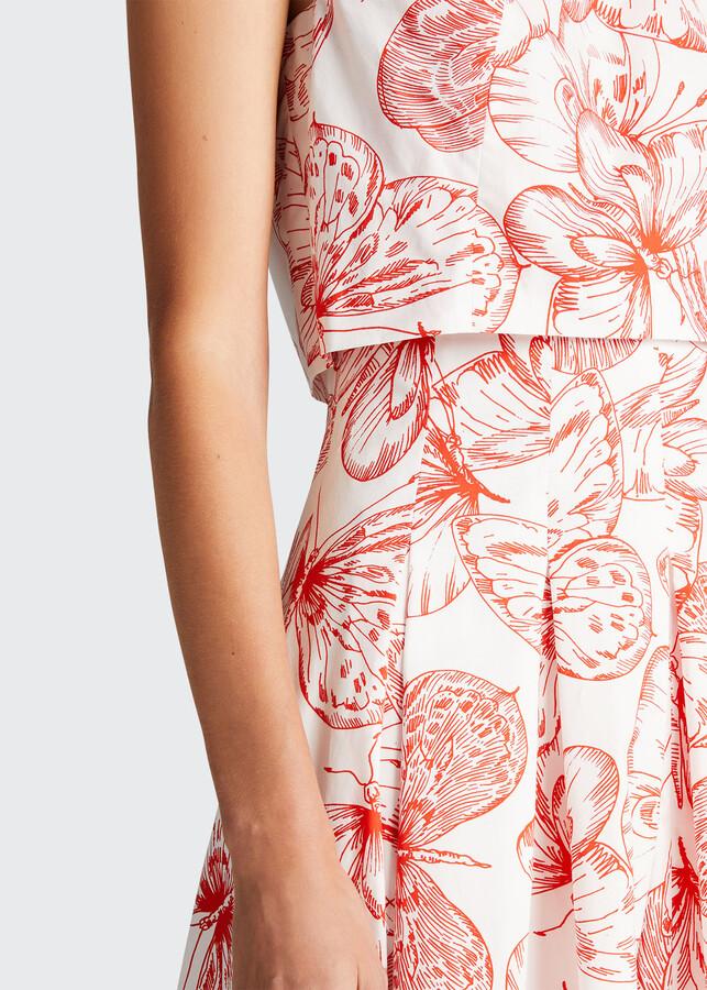 Thumbnail for your product : Lela Rose Butterfly-Print Seamed Poplin Midi Dress