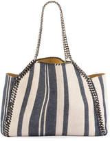 Stella McCartney Falabella Striped Canvas Small Tote Bag