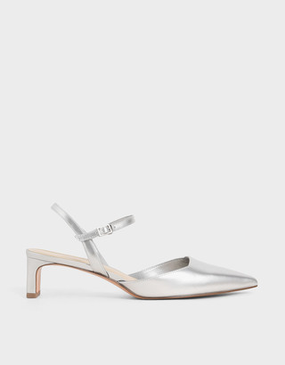 Charles & Keith Metallic Ankle Strap Pumps