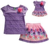 Dollie & Me Girls 4-14 and Doll Lace Top & Floral Skirt Set
