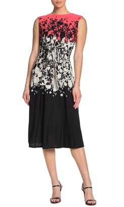 Gabby Skye Cap Sleeve Floral Printed Dress