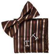 Brown Stripes Online Shopping For Working Day Silk Pre-tied Bowtie Cufflink Hanky For Mens Set By Epoint