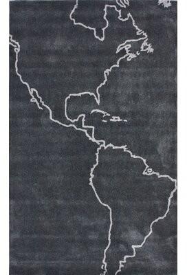 Ivy Bronx Downard Gray Map Novelty Area Rug Rug Size: Rectangle 5' x 8'
