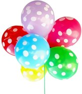 Elisona-100 Pcs 12 inch Mixed Color Latex Round Dot Printed Thick Big Round Decoration Balloons for Wedding Birthday Party Random Color