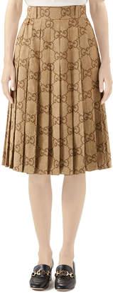 Gucci GG Linen Jacquard Box Pleated Skirt