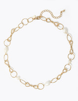 Marks and Spencer Freshwater Pearl Twist Chain Link Necklace