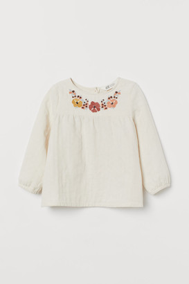 H&M Embroidered Cotton Blouse - Beige