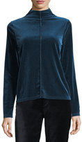 Elie Tahari Kaylse Mock-Neck Velour Knit Top