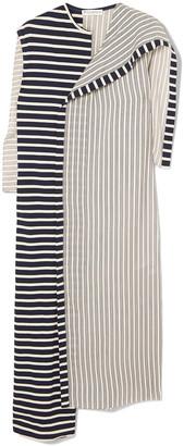 J.W.Anderson Asymmetric Striped Jersey And Cotton Dress