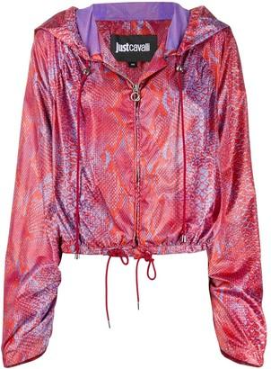 Just Cavalli Snakeskin-Print Hooded Jacket
