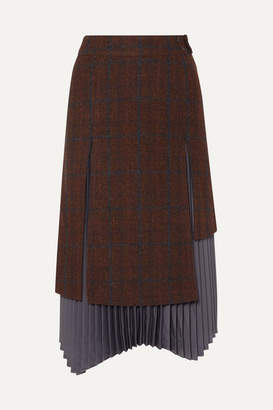 Andersson Bell - Marcia Layered Wool And Alpaca-blend And Pleated Satin Skirt - Brown