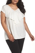 Sejour Plus Size Women's Lace Trim Ruffle Tee