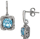 Lord & Taylor Blue Topaz, Diamond and Sterling Silver Drop Earrings