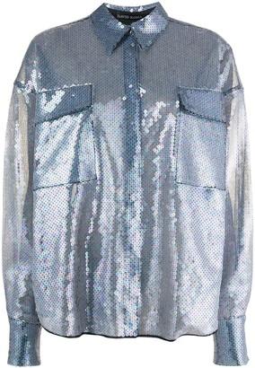 David Koma Sheer Sequined Shirt