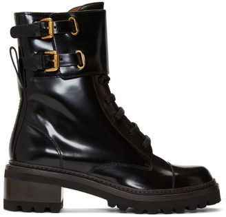 See by Chloe Black Mallory Biker Boots