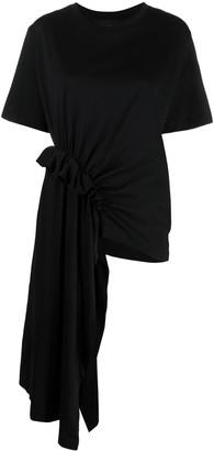 Simone Rocha asymmetric draped-detail T-shirt