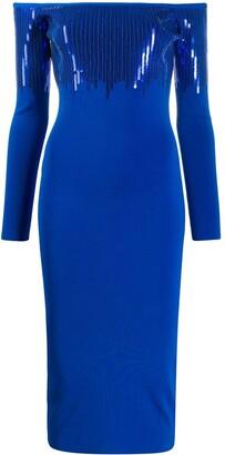 David Koma Sequined Off-Shoulder Dress