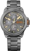 HUGO BOSS New York Grey Matte Sunray Dial Chronograph Knurling Centre Link Bracelet Mens Watch