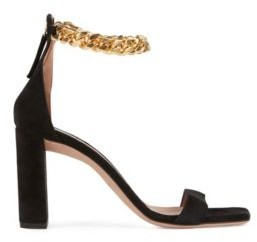 HUGO BOSS High Heeled Sandals In Suede With Chain Ankle Strap - Black