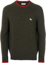 MAISON KITSUNÉ contrast crew neck sweater - men - Lambs Wool - S
