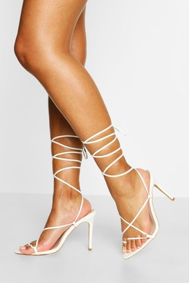 boohoo Pointed Toe Strappy Wrap Up Stiletto Heels