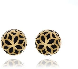 Georgina Jewelry Gold Onyx Signature Flower Ball Earrings