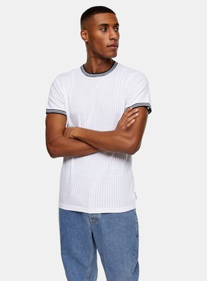 Topman BELLFIELD White Ribbed T-Shirt