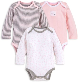 Burt's Bees Dusty Dandelions Organic Baby Long Sleeve Bodysuits 3 Pack