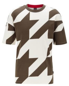 HUGO BOSS Stretch-cotton T-shirt with oversized houndstooth pattern