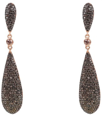 Latelita Coco Long Drop Earrings Chocolate Cz