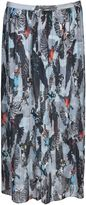 Markus Lupfer Pleated Harper Bird Print Skirt