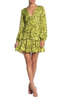 Do & Be Snake Skin Print Faux Wrap Dress