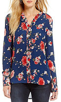 KUT from the Kloth Liliana Floral Print Long Sleeve Button Front Top