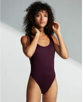 Express ribbed ultra high leg one-piece swimsuit
