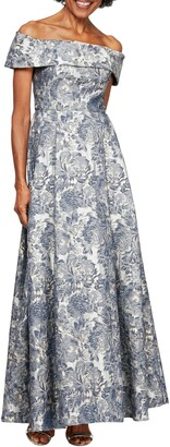 Alex Evenings Floral Brocade Off the Shoulder Gown