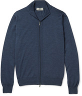 Canali - Slim-fit Ribbed Mélange Wool Zip-up Sweater