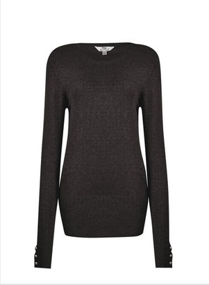 Dorothy Perkins Womens Dp Tall Black Pearl Crew Neck Jumper, Black