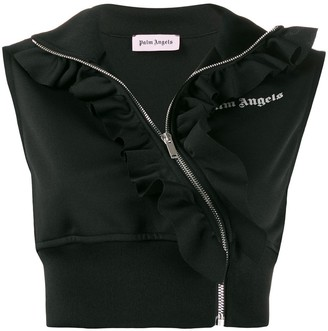 Palm Angels cropped ruffle track vest