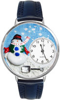 Whimsical Watches Personalized Holiday Snowman Womens Silver-Tone Bezel Blue Leather Strap Watch
