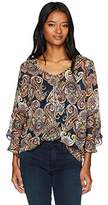 Amy Byer A. Byer Junior's Printed Bell Sleeve V-Neck Top