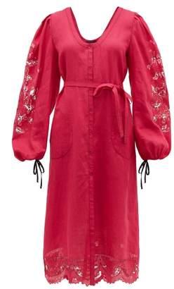 Vita Kin - Broderie-anglaise Linen Midi Dress - Womens - Pink