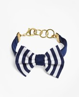 Brooks Brothers Kiel James Patrick Navy and White Stripe Bow Tie Bracelet