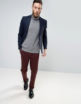 Asos Slim Blazer In Indigo 100% Wool