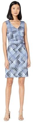 Nic+Zoe Crossover Twist Dress (Blue Multi) Women's Clothing