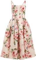 Dolce & Gabbana Rose-print silk organza dress