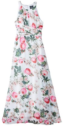 Adrianna Papell Rose Magnolia Chiffon Midi Halter Dress (Pink Multi) Women's Dress